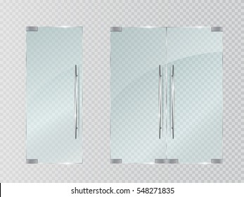 Glass doors isolated on transparent background. Vector illustration