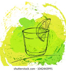 A glass with a drink and pieces of lemon painted by hand on a background of splashed spots. Vector illustration