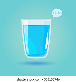 glass of drinking water. healthy drink concept - vector illustration