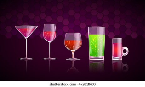 glass with drinks set