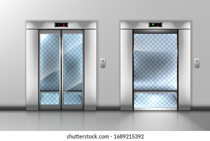 Glass elevator with open and closed doors in office hallway. Vector realistic empty modern interior with lift with transparent walls and floor in hall of hotel or house