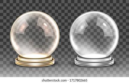 Glass empty magic ball. Vector transparent snow globe
