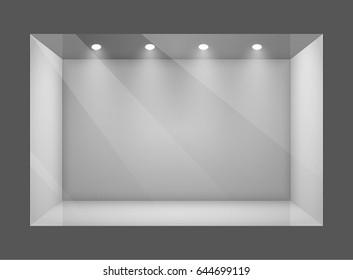 Glass empty show window of shop. Vector illustration.