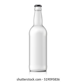 Glass Empty Water Bottle. Carbonated drink. Mock Up Template. Illustration Isolated On White Background. Ready For Your Design. Product Packaging. Vector EPS10