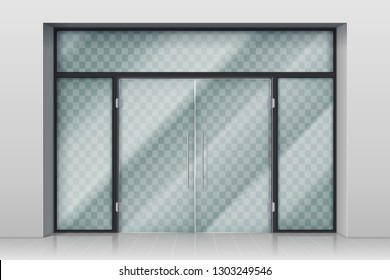 GLASS ENTRANCE DOOR. Shopping center mall entrance automatic doors with reflection and chrome frame vector illustration