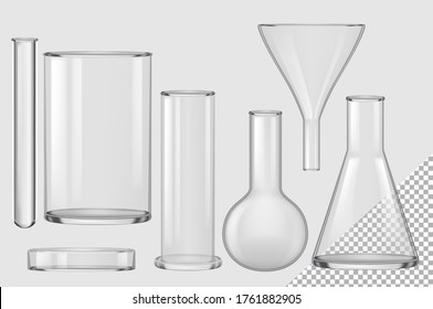 Glass flask. Isolated realistic empty chemical filter funnel, bulb, test tube, beaker, petri dish collection. Vector chemistry and biology laboratory glass flask glassware equipment