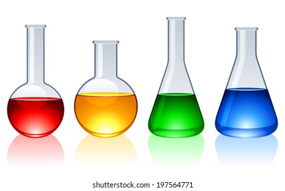 Glass flasks with color liquid inside.