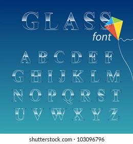 Glass font. Vector illustration.