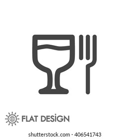 glass fork sausage vector icon