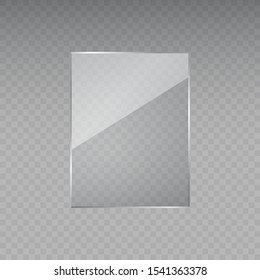 Glass frame isolated on transparent background. Vector flat acrylic banner. Plastic screen display, blank glass bar or panel for your design.