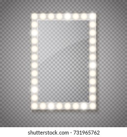 Glass frame with lights isolated. Vector illustration