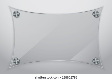Glass frame with metallic screws, vector illustration