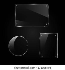glass frame on a black background, vector illustration