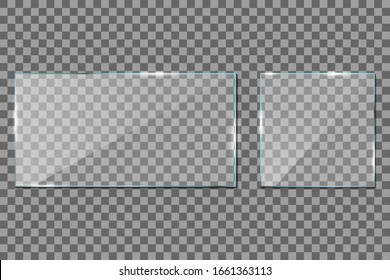 Glass frame on transparent background. Acrylic, Plexi glass. Rectangle window mockup with shadow. Glossy clear surface. Horizontal panel, frame for digital screen. Plastic light shiny plates. Vector.