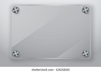 Glass frame with screws, vector illustration
