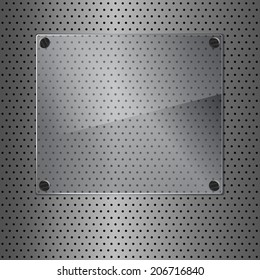 Glass framework on perforated background. Vector illustration