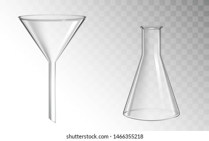 Glass funnel and flask, glassware for chemical laboratory isolated on transparent background, filtration and test medical science lab, chemistry equipment. Realistic 3d vector illustration, clip art
