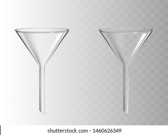 Glass funnel, glassware for chemical laboratory isolated on transparent background, filter instrument for liquids filtration, medical science lab equipment. Realistic 3d vector illustration, clip art