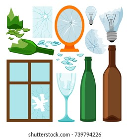 Glass garbage collection, empty bottles, brokem mirror and window, light bulbs vector icons