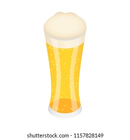 Glass of german beer icon. Isometric of glass of german beer vector icon for web design isolated on white background
