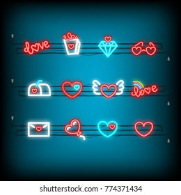 Glass, gift, mail, balloon. Neon happy Valentine's Day set icon. Valentine neon lamp romance heart collection shape. Red color vector light. Nightclub neon bulb dark bar. Holiday love greeting icons