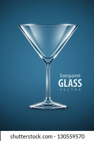 glass goblet for martini cocktails vector illustration EPS10. Transparent objects used for shadows and lights drawing. Vector Illustration.