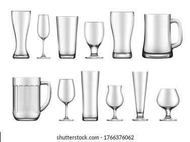Glass goblet, mug and jar realistic vector mockup set. Wineglass and flute, beer weizen, pilsner and tankard, belgian, snifter glass for cognac. Bar, restaurant glassware for alcohol drink