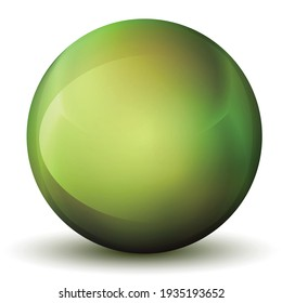 Glass green ball or precious pearl. Glossy realistic ball, 3D abstract vector illustration highlighted on a white background. Big metal bubble with shadow.