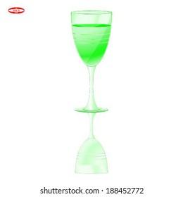 glass of green vine on white background vector