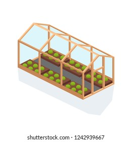 Glass greenhouse with foundation and roof. Gardening, care of organic food, agriculture, farming land, for cultivation of natural organic healthy vegetables, fruits, flowers, plants. Isometric vector.