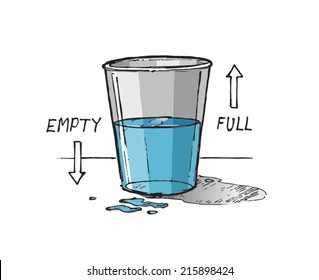 Glass half empty or glass half full concept drawing. Hand drawn isolated vector sketch on white background.
