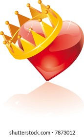 glass heart with an hanging crown