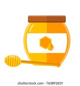 glass of honey flat design isolated on white background