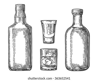 Glass with ice cubes and bottle. Engraving vintage vector black illustration. Isolated on white background. Hand drawn design element for label and poster