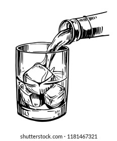 Glass with ice and strong drink. Whiskey, rum, gin. Pour whiskey in to glassHand drawn illustration converted to vector