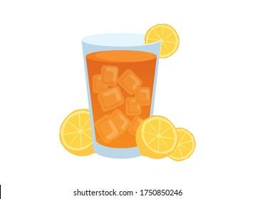Glass of ice tea with lemons vector. Ice tea icon vector. Iced Tea icon isolated on a white background. Full glass of tea with ice and lemons vector