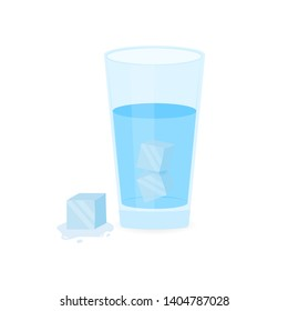 Glass of Ice Water on white background. Vector stock illustration.