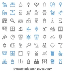 glass icons set. Collection of glass with milk, trick, bar, ice cream, flask, idea, wine, recycle bin, bottles, candy machine, window, fishbowl. Editable and scalable glass icons.