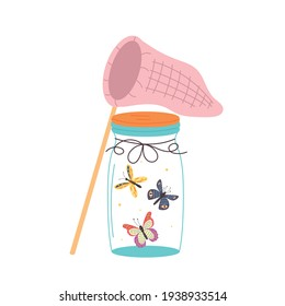 Glass jar with a butterfly net. Glass jar flask with flying insects. Vector modern illustration