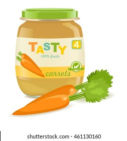 Glass jar with carrot baby food