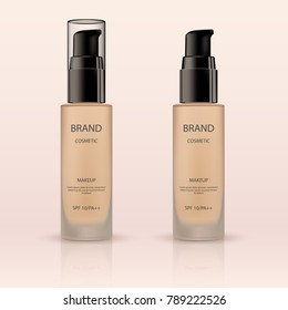 Glass jar for cosmetic cream. Foundation container mockup, complexion liquid in glass bottle on light beige background. Vector 3D cosmetic illustration for the promotion of foundation premium product.