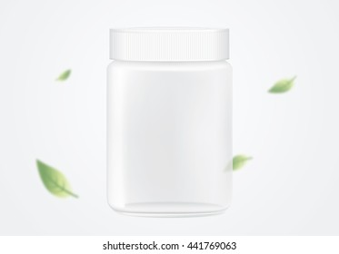 Glass jar empty transparent on blue background have falling leaves blowing in the wind.