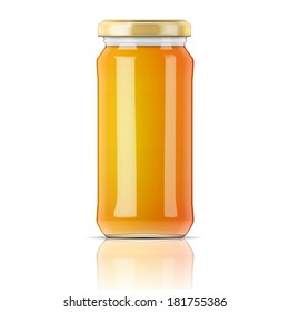 Glass jar with golden cap filled with yellow jam, confiture or honey. Vector illustration. Packaging collection.