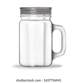 Glass jar with handle and screw metal lid isolated on white background, vector mockup. Clear drinking mug.