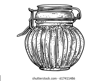 Glass, jar, honey illustration, drawing, engraving, ink, line art, vector