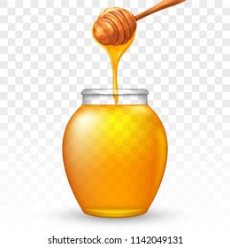 Glass jar of honey with wooden honey dipper. Graphic concept for your design