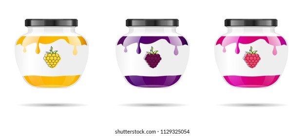 Glass jar with jam and configure with blackberry and raspberry. Vector illustration. Packaging collection. Label for jam. Bank realistic. Mock up glass jar with design label and logo