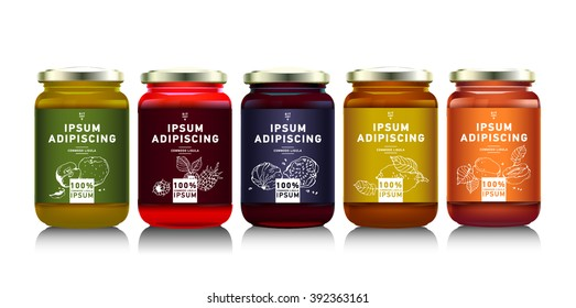 Glass jar with with jam, configure or honey. Vector illustration. Packaging collection. Label for jam. Bank realistic. Mock up  mason jar with design label or badges