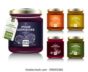 Glass jar with with jam, configure or honey. Vector illustration. Packaging collection. Label for jam. Bank realistic with design tag. Mock up  mason jar with design label or badges