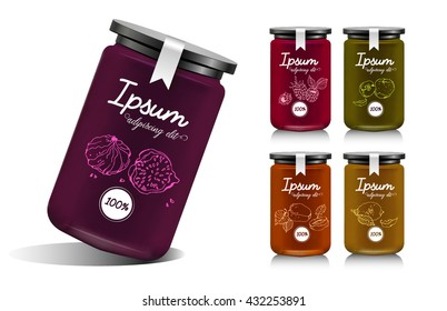 Glass jar with with jam, configure or honey. Vector illustration. Packaging collection. Label for jam. Bank realistic with design tag. Mock up mason jar with design label or badges. Fruit jelly